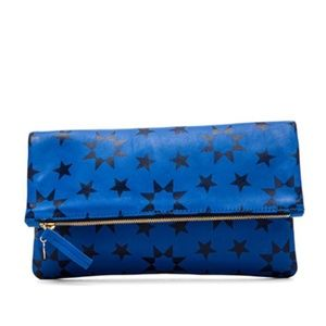 Clare V Cobalt Star Moor Leather Foldover Clutch